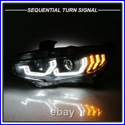 BLACK LED Block Sequential Signal Dual Projector Headlight For 16-21 Honda Civic