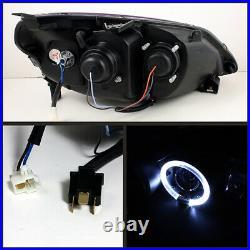 Black Projector Headlight Halo Angel Eye For 01-03 Honda Civic 2/4DR EX/HX/GX/LX