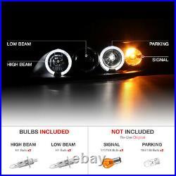 Black Projector Headlight LED Angel Eye Amber Signal Lamp For 98-02 Honda Accord