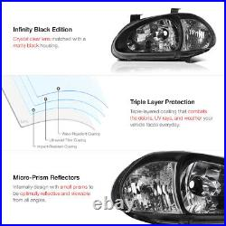 CLEAR REFLECTOR For 1993-1997 Honda Civic Del Sol Black Housing Headlight Lamp