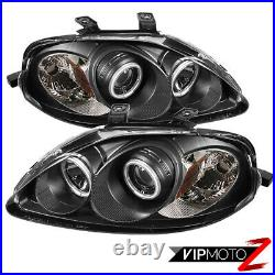 Dual CCFL Halo Angel Eye Projector Black Headlight For 99-00 Honda Civic 2/4DR