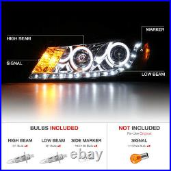 Euro Chrome LED Projector Headlight+DRL Pair Assembly For 08-12 Honda Accord 4DR