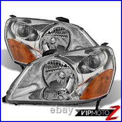 For 03-05 Honda Pilot EX LX SUV Chrome Pair Replacement Headlight Lamp Assembly
