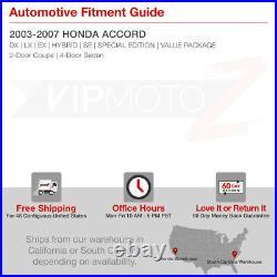 For 03-07 Honda Accord Headlight Black Housing Amber Corner Signal Replacement