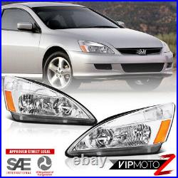 For 03-07 Honda Accord Headlight Crystal Clear Chrome Replacement Front Signal