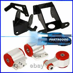 For 06-11 Civic Si Manual Trans Billet Aluminum Engine Motor Mount Silver Red