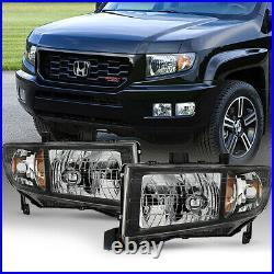 For 06-14 Honda Ridgeline PickUp Factory StyleBlack Bezel Headlight Assembly