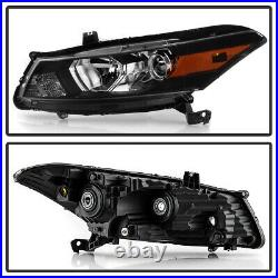 For 08-12 Honda Accord 2-DR Coupe Black Housing Projector Headlight Driving Lamp
