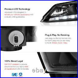 For 13-15 Honda Accord LED DRL Model Black Factory Style Replacement Headlight