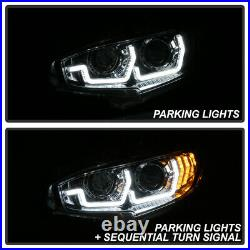 For 16-21 Honda Civic 3D LED Bar Sequential Signal Lamp Dual Projector Headlight