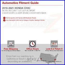 For 16-21 Honda Civic Halogen Model LED DRL Projector Headlight R Passenger Side