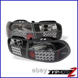 For Civic 92-95 EJ/EH 2D/4D Black LED Tail Light Brake SMD Lamp L+R D15 D16 1.6