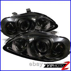 For Honda Civic 99-00 Dual Halo Projector Amber Smoke Headlights Left+Right Set