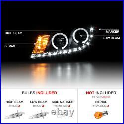 Halo Black Projector LED Headlight Lamp For Honda Accord 08-12 CP2 CP3 EX/EX-L