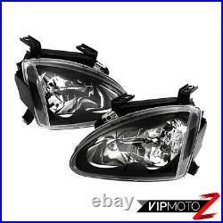 JDM Black HeadLight Lamp Left+Right Assembly For 1993-1997 Honda Del Sol H22 H23