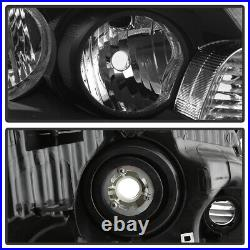 JET BLACK Housing Headlight LH+RH Driving Lamp For 08-12 Honda Accord 4DR Sedan