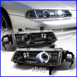 L+R Black Projector Headlight Halo Angel Eye For 92-96 HONDA PRELUDE Type-SH H22