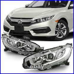 LED DRL Projector Headlight Lamp For 16-20 Honda Civic FC/FK Halogen Model ONLY