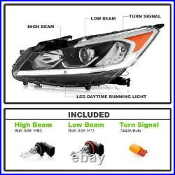 LEFT DRIVER SIDE DRL Projector Headlight For 16-17 Honda Accord LED Lamp Model