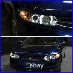 Left+Right Halo Projector Headlight Signal Lamp For 06-11 Honda Civic 2D Coupe