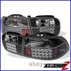 SUPER BRIGHT Black LED Tail Light Brake+Turn Signal Lamps For 92-95 Civic 3DR HB