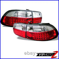 Super BRIGHT LED Red/Clear Tail Brake Light Signal Lamps For 92-95 CIVIC 2/4DR